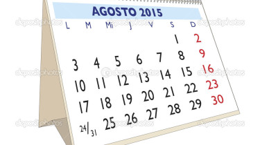 August month in a year 2015 calendar in spanish. Agosto 2015
